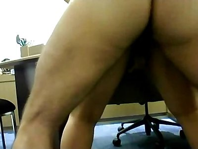 Me-Fucking my wife on table in my home office & her pussy drips creampie