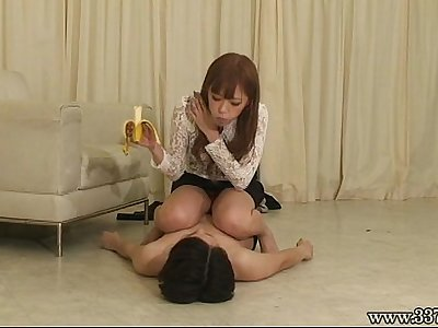 Japanese Femdom Airi foot stamp and riding pony